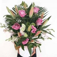 Pink Rose, Lilly & Orchid Arrangement